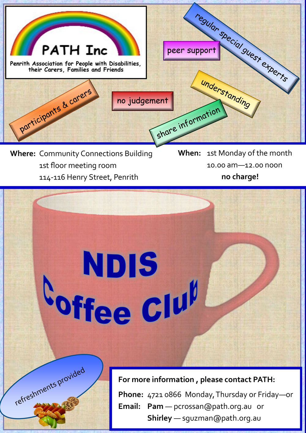 Advertisement for the NDIS Coffee Club